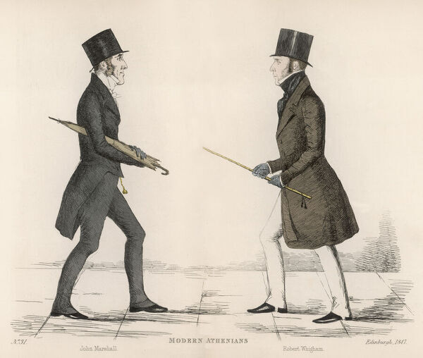 John Marshall (Lord Curriehill) (1794-1868) a Scottish judge, passing Robert Whigham (1795-1849) Sheriff of Perthshire on the streets of Edinburgh