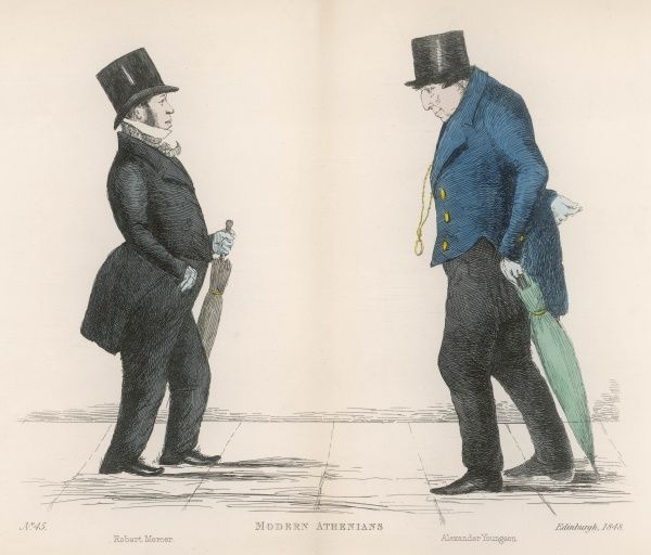 Mr Robert Mercer (1797-1875) meeting Alexander Youngson; his second drawing by the artist, after apparently being hurt pairing him with the Dr Syntax charater