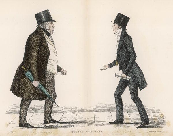 Charles Cuningham, City Clerk, meeting with Adam Black (1784-1874) twice Lord Provost of Edinburgh, publisher and founder of the A & C Black publishing company, publishing the 7th, 8th and 9th editions of the Encyclopedia Britannica