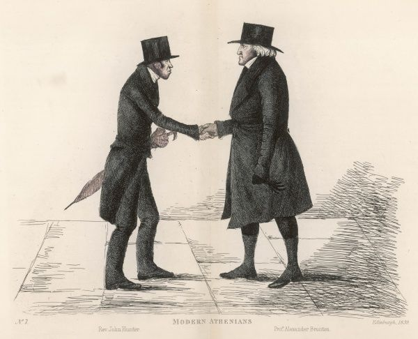 Rev John Hunter (d. 1866) of the Tron Church stopping to shake hands with his successor Prof. Alexander Brunton (d. 1854). Two friends and colleagues