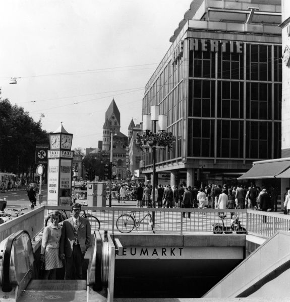 The Neumarkt area of Cologne, Germany, showing the 'modern' Post World War Two buildings. Date: late 1960s