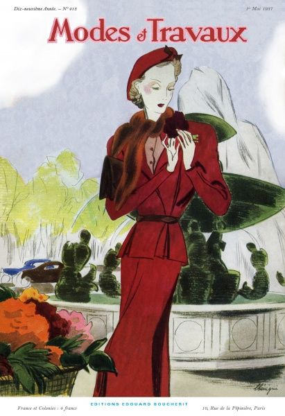 b3e3527b195 Woman in red suit with fur collar poses in front of a fountain Date  1937