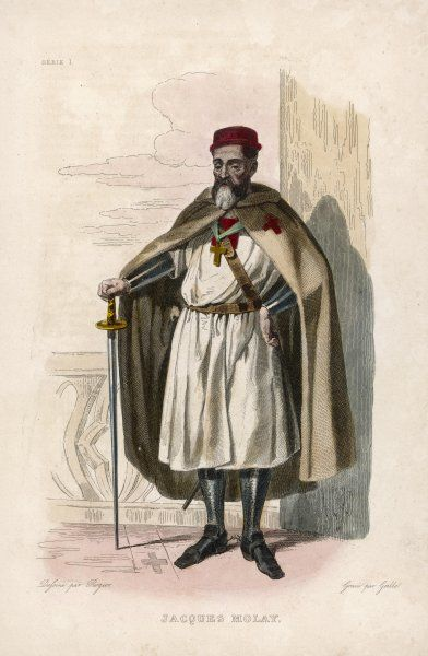 JACQUES DE MOLAY the last Grand Master of the Knights Templar, burnt alive for alleged crimes