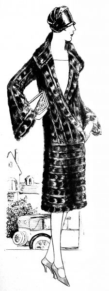 Illustration showing a moleskin coat design, 1926. The coat was 45 inches long and was available at 'The City Fur Store', for a reduced price of 25 guineas