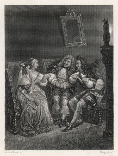 'LES PRECIEUSES RIDICULES' Jodelet displays the mark of his wound