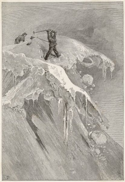 Edward Whymper at the summit of the Moming Pass