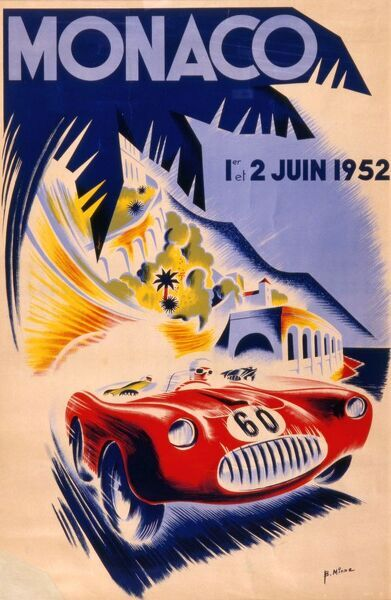 Stunning poster advertising the 1952 Grand Prix in Monaco, featuring a sleek red car speeding around the palm trees of the principality