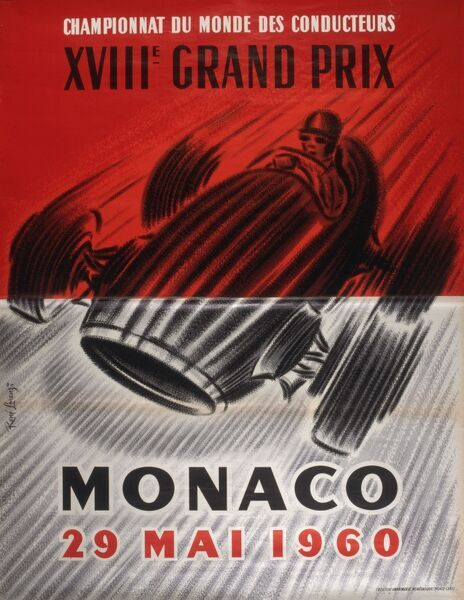A poster for the Monaco Grand Prix of 29th May 1960, the 18th such race held at the tight, winding street circuit