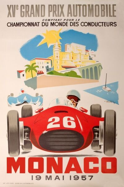 Monaco Grand Prix Poster - 19th May 1957. The race was won by Juan Manuel Fangio in a Maserati. 1957