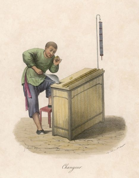 A money changer examines a coin to check against others which he stoes on strings to correctly assess size and weight