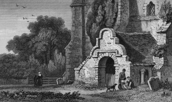 The unusual entrance porch to the church at Mongeham, near Deal, Kent Date: 1829