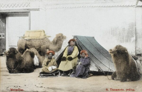 Mongolian Traders in China with their delightful camels and tent. A stop at the city gates at the end of a long trading journey