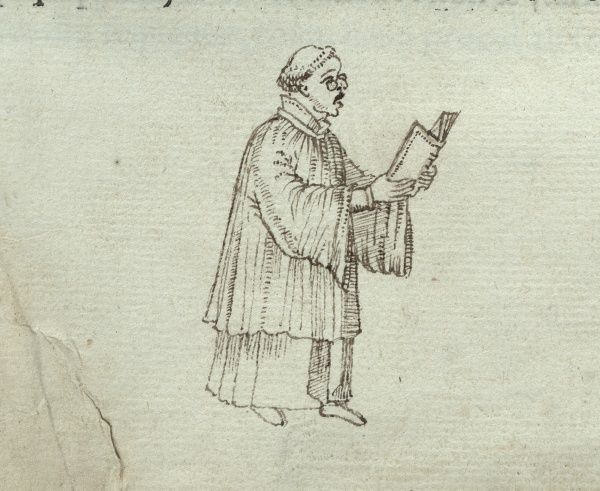 Marginal drawing of what appears to be a priest or a monk singing with a book in his hand. 1543