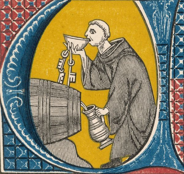 A conscientious monk tastes the monastery wine to make sure it is ageing well and keeping in good condition, a duty which must be performed from time to time