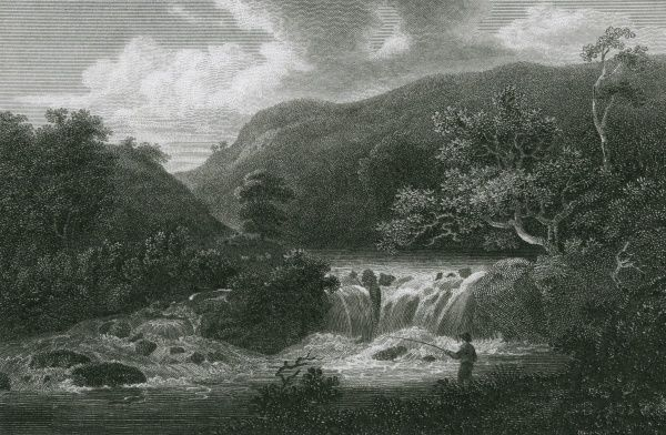 View on the River Wye in Monsal Dale, Derbyshire Date: 1804