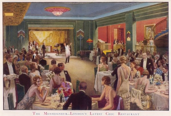 Evening at The Monseigneur, a fashionable London restaurant, with diners watching a cabaret performance. The Monseigneur Restaurant was one of three main hot spots for dance music in the 1930s. It shared rival prominence with the Savoy Restaurant