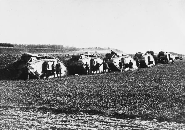 Tanks of 11th Battalion at Mont St. Eloi on the Western Front in France during World War I in April 1918