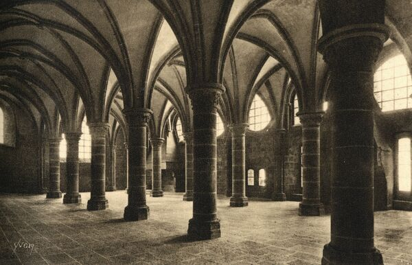 Mont St Michel, Normandy, France - The Hall of the Knights (13th century) Date: circa 1930s