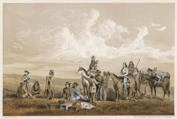 Meeting on the plains of Montana - near Fort Benton, governor Stevens confers with native Americans (probably Assiniboines but possibly Gros Ventres)