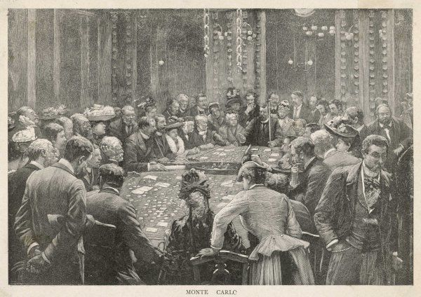Smart ladies and gentlemen surround a table in a Monte Carlo casino