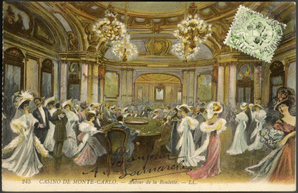 Elegant ladies in elegant gowns surround the ROULETTE TABLE in the Salle Schmitt