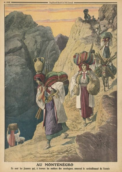 Supplies for the Montenegro army, seeking to expel the occupying Turks, are carried over mountainous terrain by the women of the country
