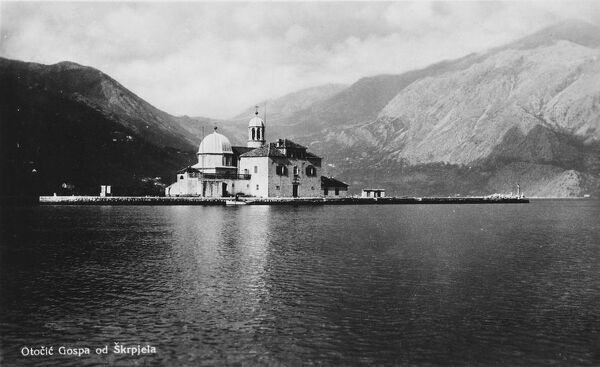 "Montenegro - Gospa od Skrpjela - ""Our Lady Made of Rocks"" - a baroque church on one of two man-made islets, deep in the Bay of Kotor, across from the town of Perast"