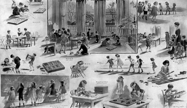 A detailed illustration by S. Begg of a Montessori school in Courtfield Gardens, London, showing children at various activiities