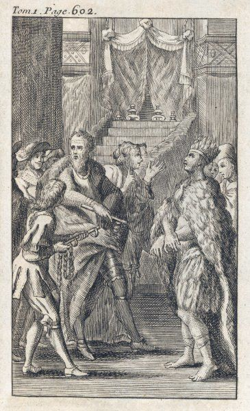 Cortes seizes Montezuma and puts him in chains