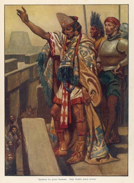 MONTEZUMA addresses the Aztecs from the roof of his palace and (falsely) reassures them that he is not being held as a prisoner by the Spanish