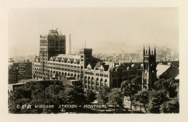 Montreal, Canada - The Canadian Pacific Railway - Windsor Station. The New Carlton Hotel is in the background (left)