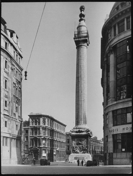 The Monument, London, erected on Pudding Lane, to mark the place where the Great Fire of London broke out in a bakery in 1666