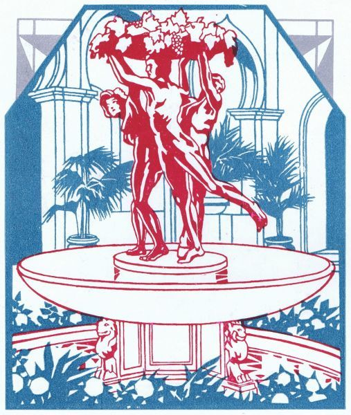 An art deco sketch of a monumental fountain at the Excelsior Hotel, Lido, Venice Date: late 1920s