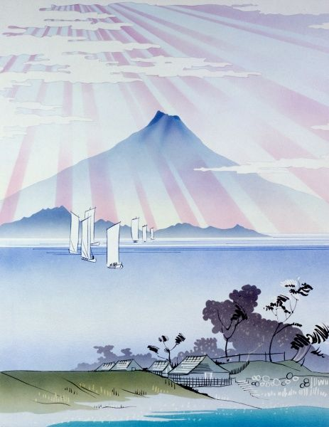 A stylised view of Mount Fuji in Japan, in the style of the famed Japanese woodcut printmakers of the late 18th and 19th centuries. Painting by Malcolm Greensmith