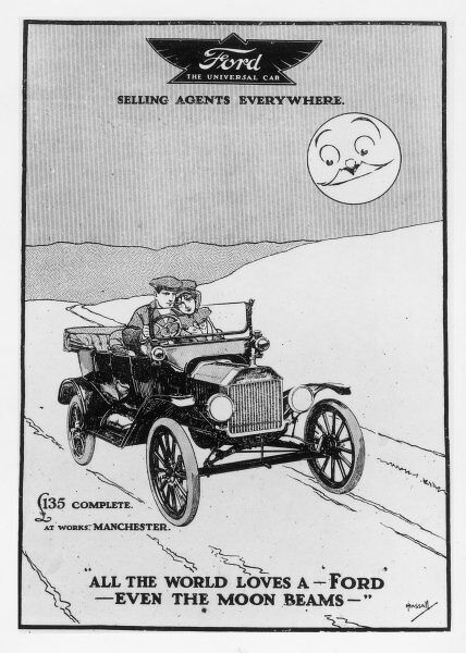 "An advertisement for Ford cars: ""All the world loves a Ford - even the moon beams&quot"