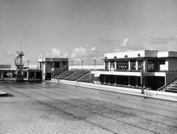 The Super Swimming Stadium, an open air swimming pool (lido) at Morecambe, Lancashire, England, was built in 1936 to compete with nearby Blackpool. Date: built 1936