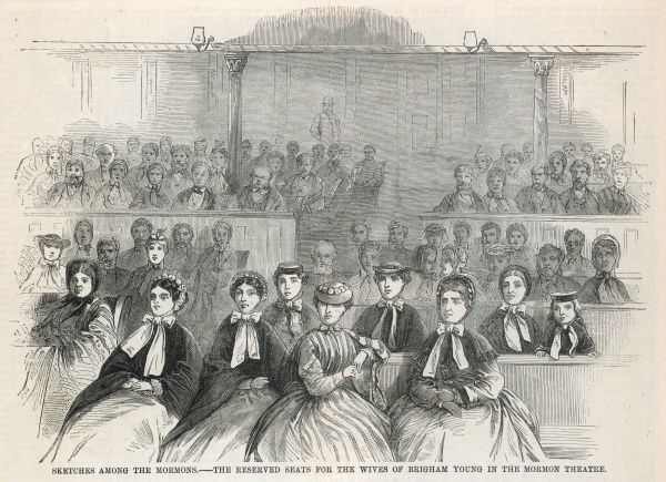 The many wives of the Mormon leader, Brigham Young, attending the Mormon Theater in Salt Lake City, Utah, USA