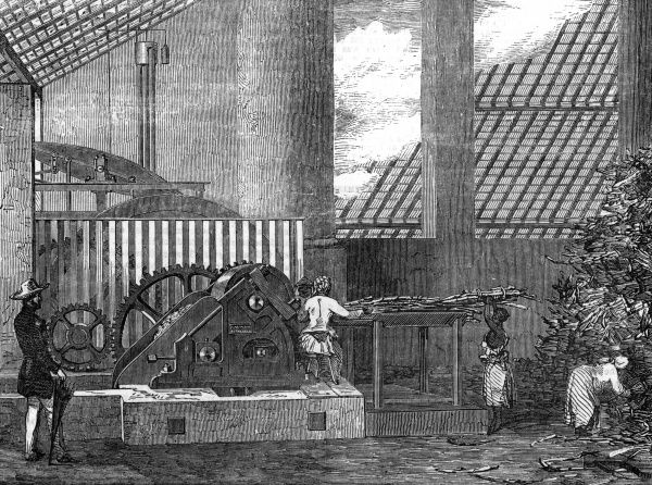 The interior of a mill house showing de Mornay's patent sugar-mill on the Carauna Estate, in Pernambuco, Brazil. Date: 1854