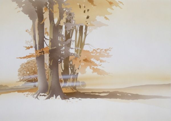 A low mist shimmers in the autumnal light casting beams of orange and yellow through the branches and tall trunks of a small wood. Painting by Malcolm Greensmith