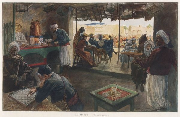A scene in a Moroccan cafe