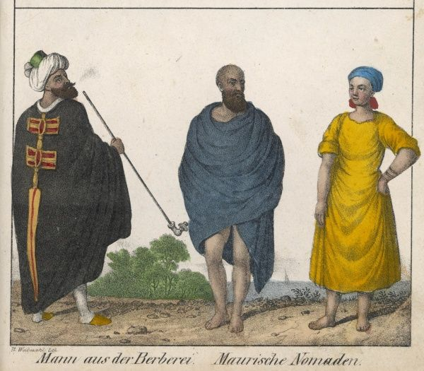 On the left, a Berber : on the right, two Moroccan nomads