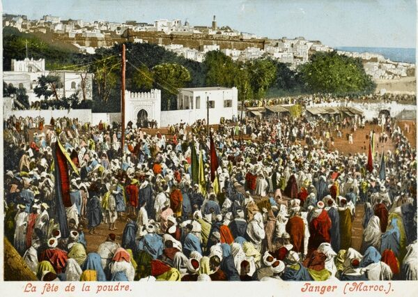 The Fete de la Poudre (Festival of the Powder), Tangiers, Morocco. The crowd awaits the commencement of the display of horsemanship in front of the city gate