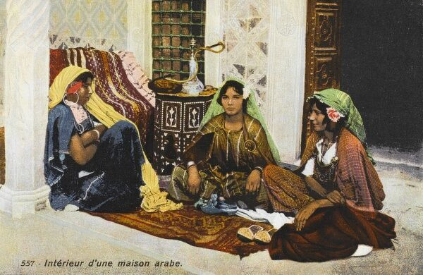 Three women in the interior of a Morrocan Arab house