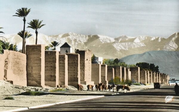 The Old Walls (Ramparts) of the city of Marrakesh in Morocco with the snow-capped Atlas Mountains in the background