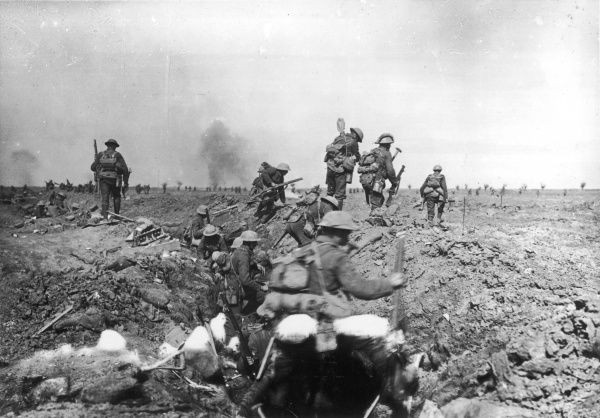 British troops move up towards the front line in support of the initial attack, near Morval during the Battle of the Somme