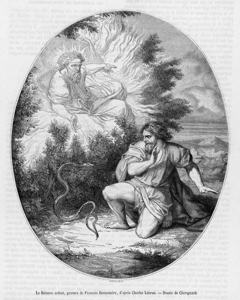 God manifests to Moses in the form of a burning bush, whilst Moses himself fends off a menacing snake
