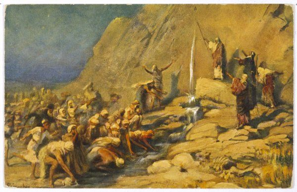 During the Exodus, Moses strikes a rock and obtains a supply of water for the Israelites