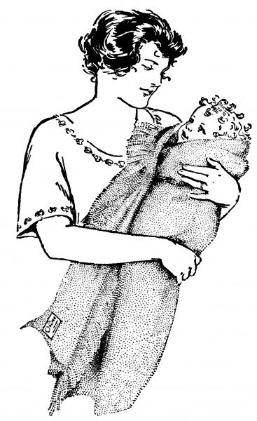 A doting mother wraps her baby in an Otterburn Baby Rug. Date: 1927