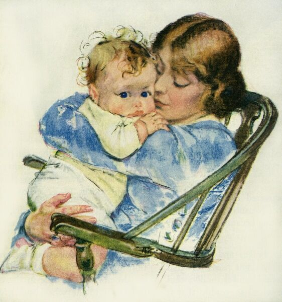 Mother and baby. Illustrator Anon. From a contemporary colour advertisement. Date: 1923