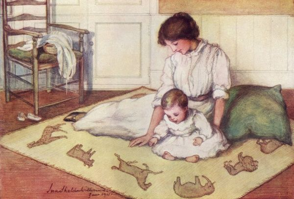 Charming illustration depicting a mother with her baby who is enjoying the cut out appliqued animals on his crawling rug. Date